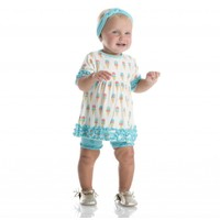 Kickee Pants Print Short Sleeve Babydoll Outfit Set (Natural Ice Cream)