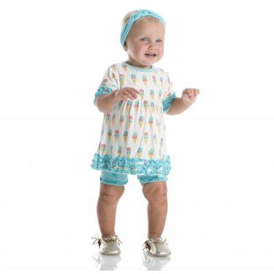 Kickee Pants Print Short Sleeve Babydoll Outfit Set (Natural Ice Cream)