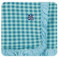 Kickee Pants Print Ruffle Stroller Blanket (Pistachio Gingham - One Size)