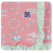 Kickee Pants Print Ruffle Stroller Blanket (Strawberry Carnival - One Size)