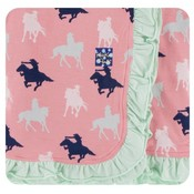 Kickee Pants Print Ruffle Stroller Blanket (Strawberry Cowgirl - One Size)