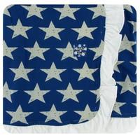 Kickee Pants Print Ruffle Stroller Blanket (Vintage Stars - One Size)