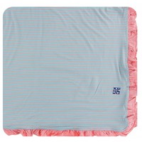 Kickee Pants Print Ruffle Toddler Blanket (Strawberry Stripe - One Size)
