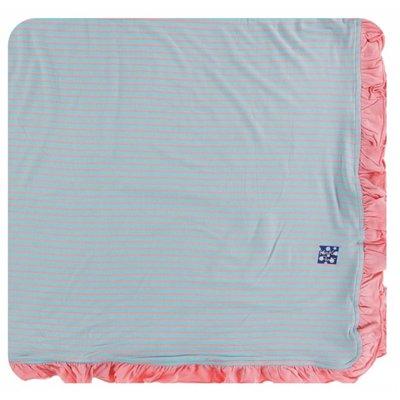Kickee Pants Print Ruffle Toddler Blanket (Strawberry Stripe - One Size)