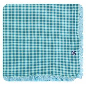 Kickee Pants Print Ruffle Toddler Blanket (Pistachio Gingham - One Size)