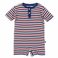 Kickee Pants Print Short Sleeve Henley Romper (USA Stripe)