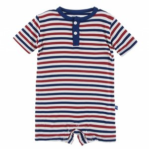 Kickee Pants Print Short Sleeve Henley Romper (USA Stripe)