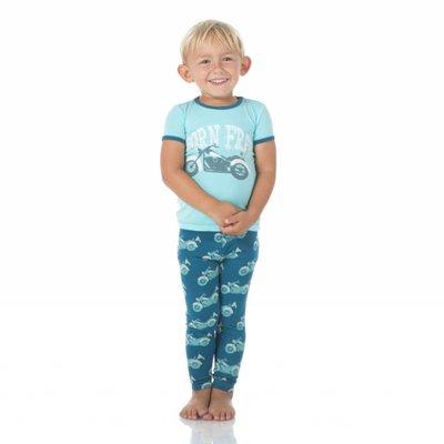 Kickee Pants Print Short Sleeve Pajama Set (Heritage Blue Motorcycle)