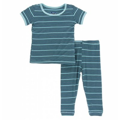 Kickee Pants Print Short Sleeve Pajama Set (Shining Sea Stripe)