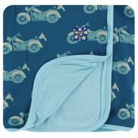 Kickee Pants Print Stroller Blanket (Heritage Blue Motorcycle - One Size)