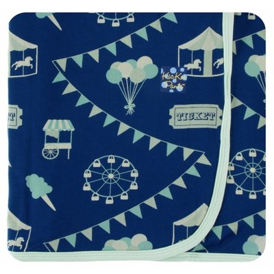 Kickee Pants Print Swaddling Blanket  (Flag Blue Carnival - One Size)
