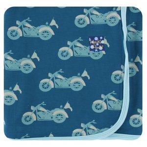 Kickee Pants Print Swaddling Blanket  (Heritage Blue Motorcycle - One Size)