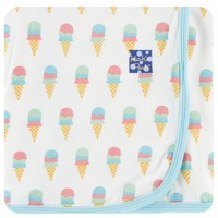 Kickee Pants Print Swaddling Blanket  (Natural Ice Cream - One Size)