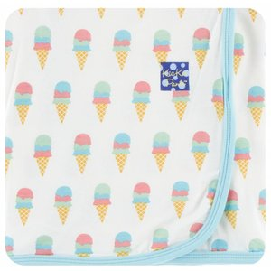 Kickee Pants Print Swaddling Blanket  (Natural Ice Cream - One Size)