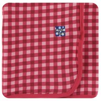 Kickee Pants Print Swaddling Blanket  (Flag Red Gingham - One Size)