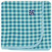 Kickee Pants Print Swaddling Blanket  (Pistachio Gingham - One Size)