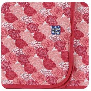 Kickee Pants Print Swaddling Blanket  (Roses - One Size)