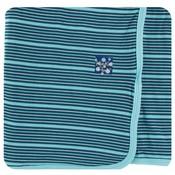 Kickee Pants Print Swaddling Blanket  (Shining Sea Stripe - One Size)