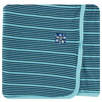 Kickee Pants Print Swaddling Blanket  (Shining Sea Stripe - One Size)