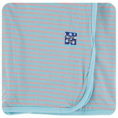 Kickee Pants Print Swaddling Blanket  (Strawberry Stripe - One Size)