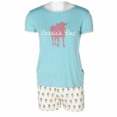 Kickee Pants Print Women's Short Sleeve Pajama Set with Shorts (Natural Ice Cream)