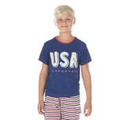 Kickee Pants Short Sleeve Piece Print Tee (Flag Blue USA)
