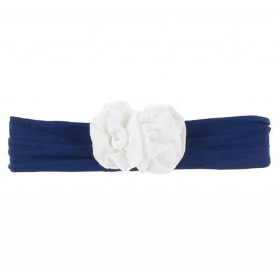 Kickee Pants Solid Flower Headband (Flag Blue with Natural - One Size)