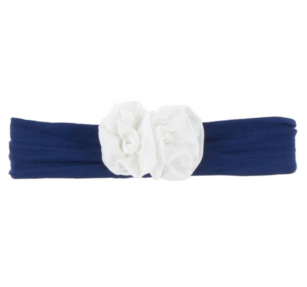 Kickee Pants Solid Flower Headband Flag Blue With Natural One
