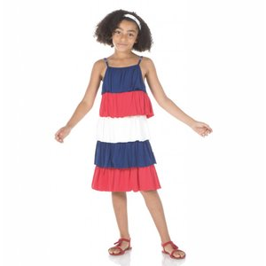 Kickee Pants Solid Tiered Ruffle Dress (Flag Red, Natural, Flag Blue)