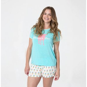 Kickee Pants Print Women's Short Sleeve Pajama Set with Shorts (Natural Ice Cream)