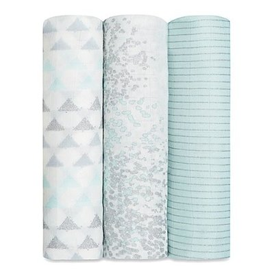 aden+anais metallic skylight birch 3-pack silky soft swaddles