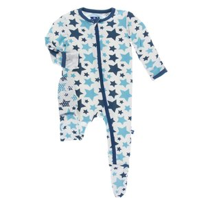 Kickee Pants Print Footie with Zipper (Confetti Star) 18-24M