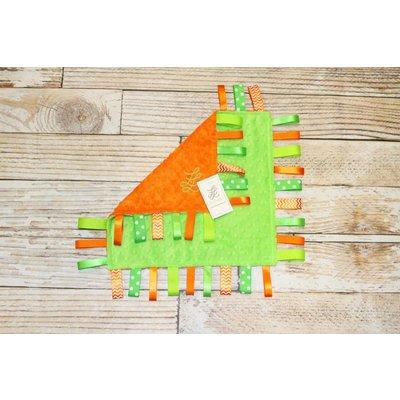 "Lincoln&Lexi The Orange Minky Dot-Green 16""x16"" Ribbon"