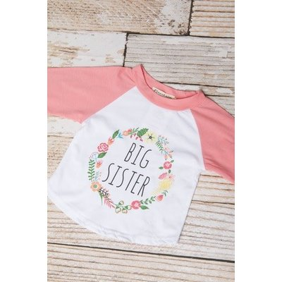 Lincoln&Lexi The Big Sister Floral Wreath Shirt