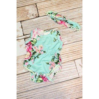 Lincoln&Lexi The Lola Floral Romper & Headband