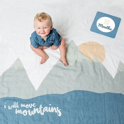 lulujo Baby's First Year blanket/cards - I will Move Mountains
