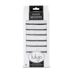 lulujo Lulujo Black Messy Stripe Bamboo Swaddle – 47×47″