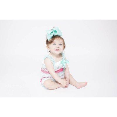 Lincoln&Lexi Stripe Lace Romper (Aqua,White&Coral)