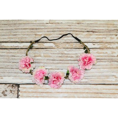Lincoln&Lexi Bohemian Floral Headband Wreath.Light Pink