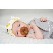 Baby Bling Trimmed Printed Knot (chicks + ivory pom)