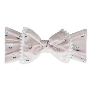 Baby Bling Trimmed Printed Knot (bunny + white pom)