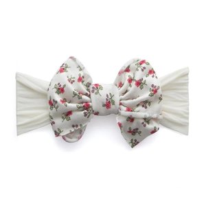 Baby Bling Jersey Bow (Ivory Floral)