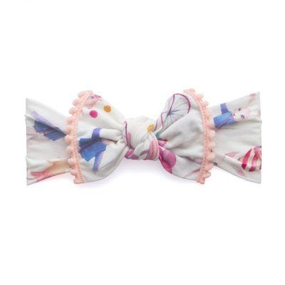 Baby Bling Trimmed Printed Knot (party animal + coral pom)