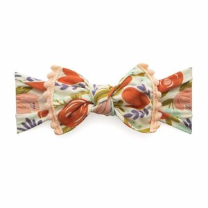 Baby Bling Trimmed Printed Knot (peach floral + peach pom)