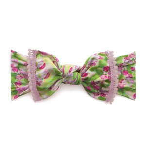 Baby Bling Trimmed Printed Knot (pink blossoms + pink mini pom)