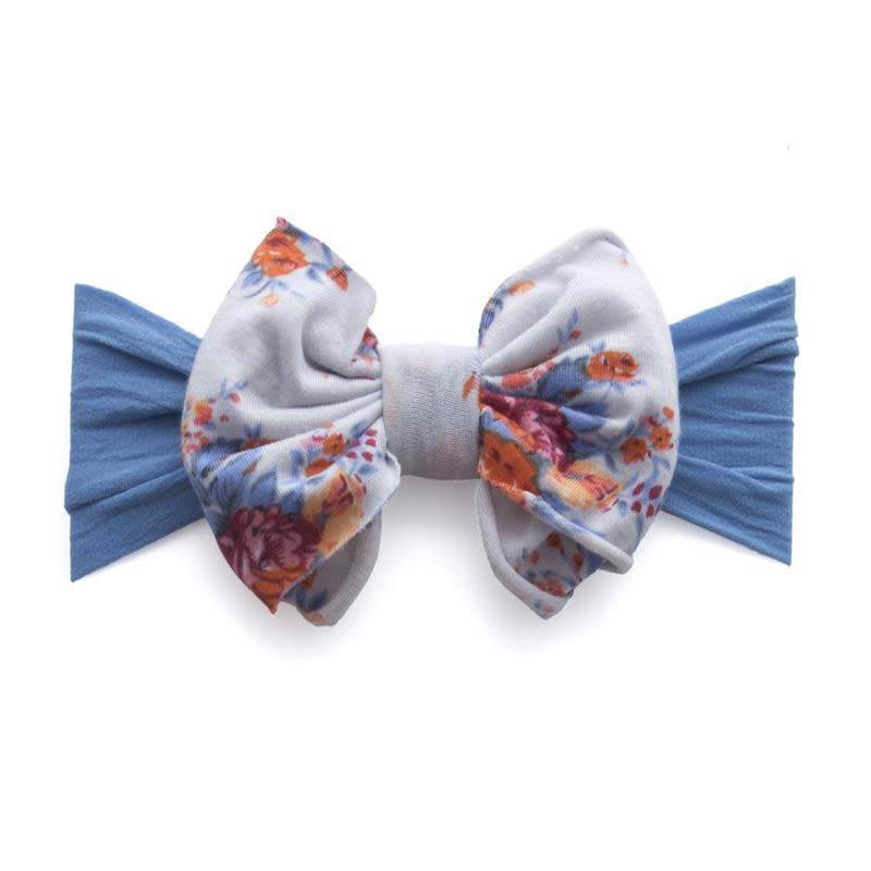 Baby Bling Jersey Bow (denim floral) - Lincoln&Lexi
