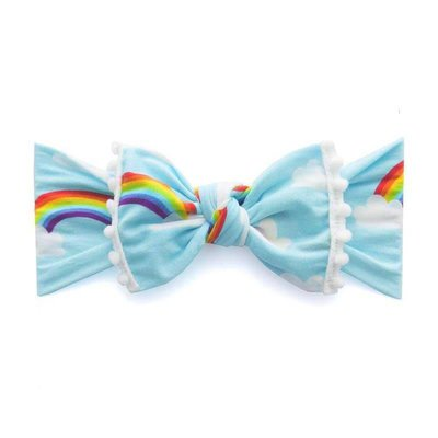 Baby Bling Trimmed Printed Knot (rainbow + white pom)