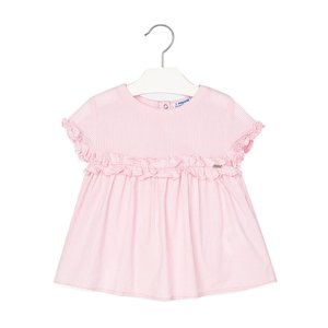 mayoral Mayoral Pink Stripe Sleeveless Frill Top