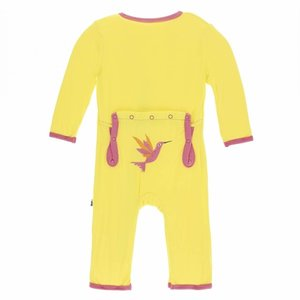 Kickee Pants Applique Coverall with Zipper (Banana Hummingbird)