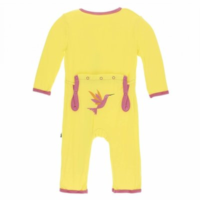 Kickee Pants Applique Coverall with Zipper (Banana Hummingbird)